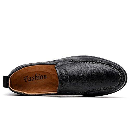 Hombres Oxford Cuero Casual Zapatos Ponerse Pisos Suave Fondo Negocio Trabajo Conducción Negro marrón Hecho a mano Negro