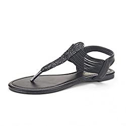 DREAM PAIRS SPPARKLY Women's Elastic Strappy String Thong Ankle Strap Summer Gladiator Sandals WHT MULTI SIZE 5.5