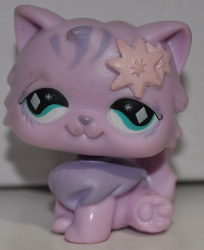Persian #693 (Purple, McDonalds)(Base Removed) - Littlest Pet Shop (Retired) Collector Toy - LPS Collectible Replacement Single Figure - Loose (OOP Out of Package & Print)