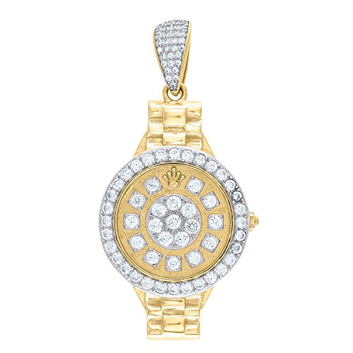 Jewels By Lux Sterling Silver Mens Yellow-tone CZ Watch Dial Fashion Pendant CharmSet With The Highest Quality Cubic Zirconia.