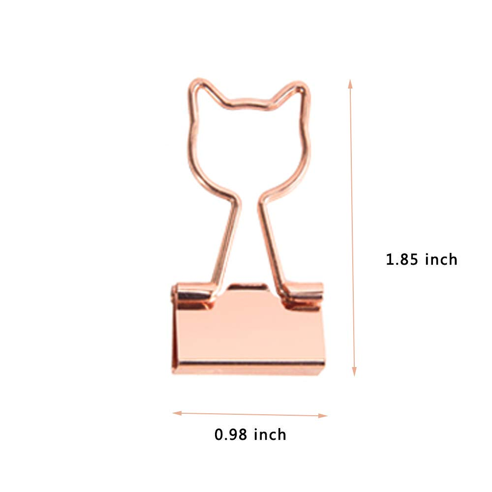 Rose Gold Metal Binder Clips with Cute Cat Shaped 0.74\