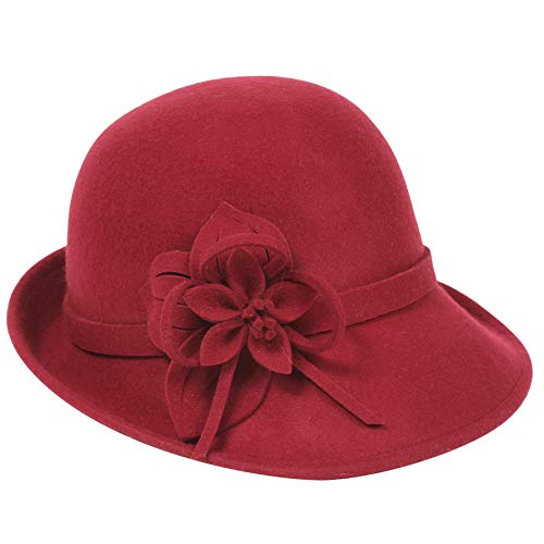 BABEYOND Womens 1920s Bucket Hat Winter Wool Crushable Bowler Hat Vintage Cloche Round Hat with Floral Accent (Wine red) (Bowler Hat For Women)
