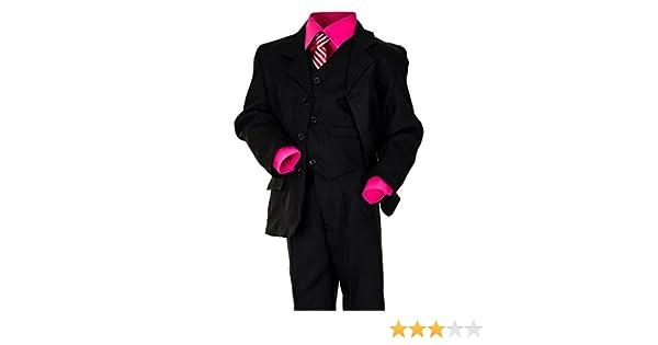 6 piezas negro joven Traje con 2 camisas, blanco y turquesa rosa o ...