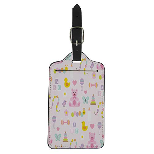 Pinbeam Luggage Tag Duck Baby Girl Pattern on Pink Infant Bear Suitcase Baggage - Duckie Rattle
