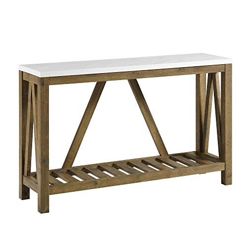 """WE Furniture AZF52AFTMNW A- Frame Rustic Console Entry Table, 52"""", White Marble/Walnut"""