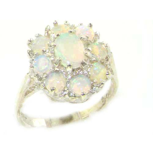 925 Sterling Silver Natural Opal Womens Cluster Ring - Sizes 4 to 12 Available by LetsBuySilver