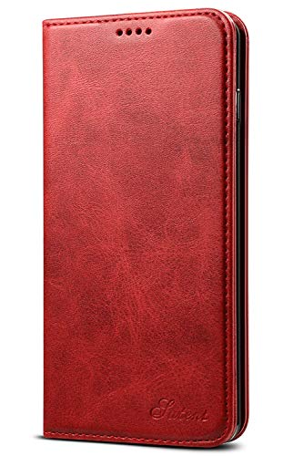 Wallet Case Compatible Samsung Galaxy S10 (2019), Magnetic Stand View Premium PU Leather Flip Cover Purse Folio Case [Kickstand Feature] with ID & Credit Card Slots Pockets for S10 6.1 inch Red