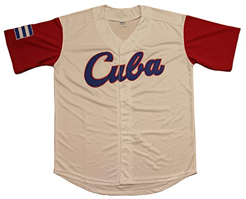 (Kooy Mexico Puerto Rico Colombia Italy Cuba Venezuela World Classic Baseball Jersey Men Adult (Cuba_White, Large))