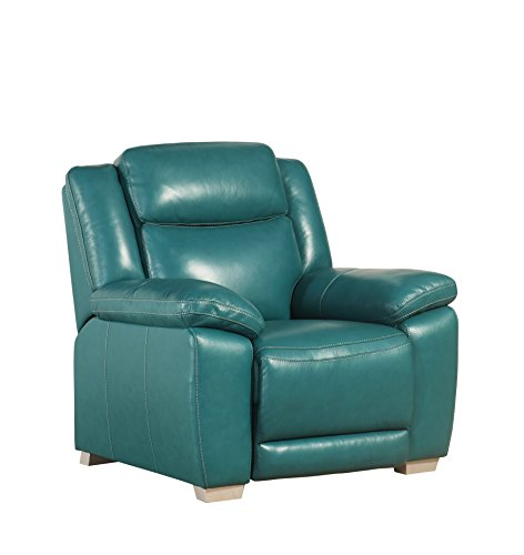 Abbyson Katerina SK-1183-Aqm-1 1 Grain Pushback Recliner, Dark Turquoise (Turquoise Leather Recliner)