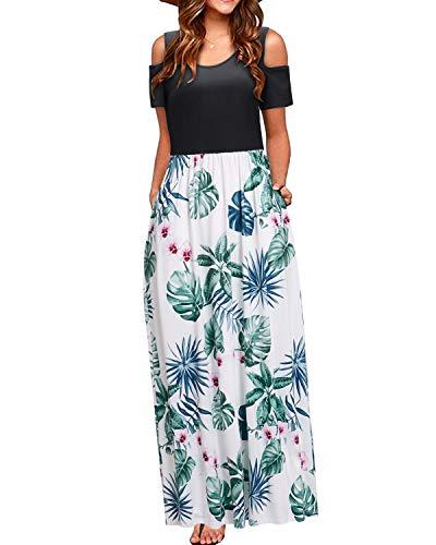 STYLEWORD Women's Summer Cold Shoulder Floral Print Elegant Maxi Long Dress with Pocket(Floral14,L)