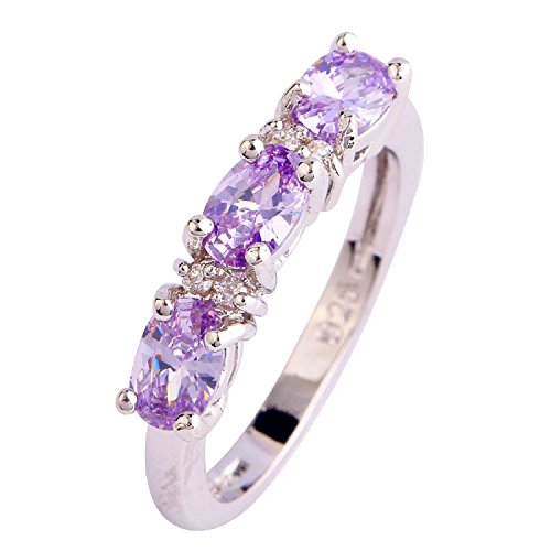 Psiroy 925 Sterling Silver Grace Womens Band Charms Gorgeous 4mm6mm Oval Cut Cz Created Tourmaline Filled Ring