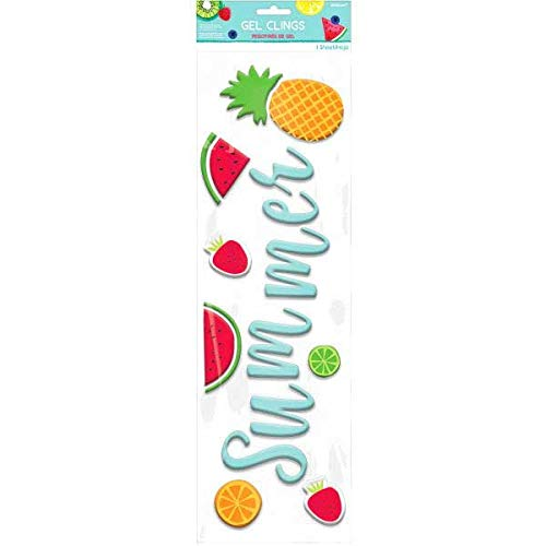 "Amscan 242145 Summer Luau Fruit Gel Clings 19"" x 6"" Multicolor"