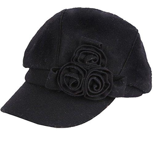 LerBen Women Vintage Wool Blend Cloche Brim Slouchy Beanie Hat Flat Caps