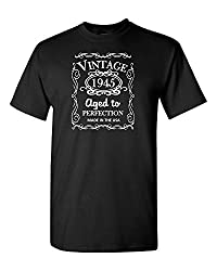 70th Birthday Vintage 1945 Aged To Perfection D1 - Adult Shirt 2xl Black