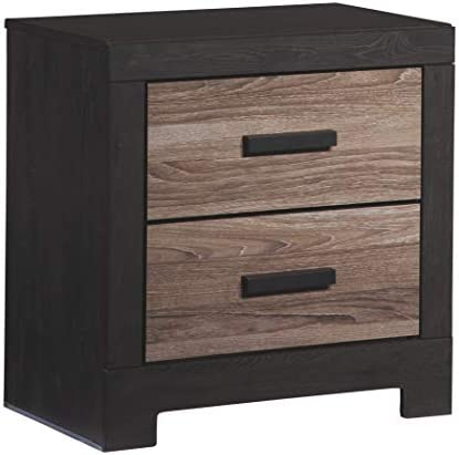Ashley Furniture Signature Design – Harlinton 2 Drawer Night Stand – Contemporary Vintage Bedside Table – Warm Gray Charcoal