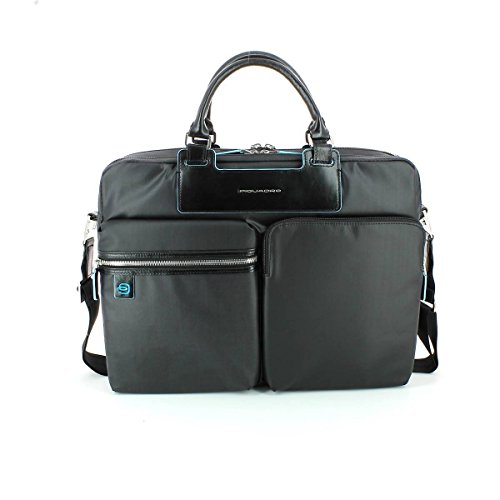 Piquadro Double-Handle Portfolio Briefcase with iPad Air Organizer, Black, One Size by Piquadro