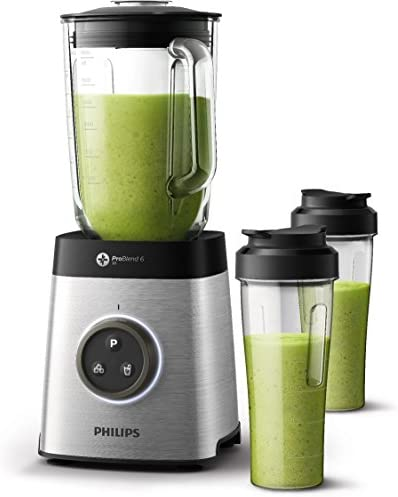 Philips HR3655/00 Blender Avance Collection 1400 W, Bol en Verre, 2 gourdes , Technologie ProBlend 3Dc