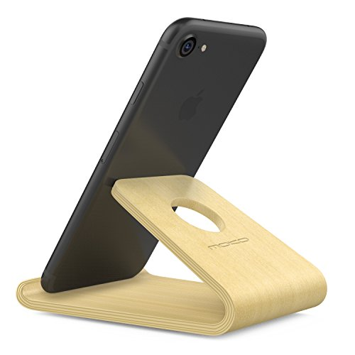 MoKo Wooden Cell Phone Stand, Wood Smartphone Holder for iPhone Xs/XS Max/XR/X/8 Plus/8/7 Plus, Galaxy S10e/S10/S10+, Moto G5 Plus/E4, BLU R1 HD/Advance 5.0, Nokia and More, Birch Color