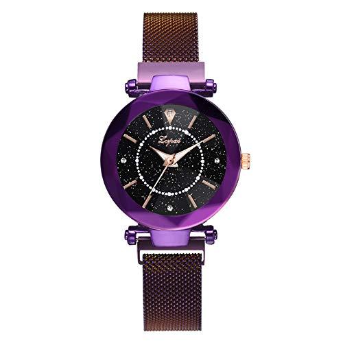 Lightclub Fashion Women Starry Rhinestones Mesh Strap Round Dial Alloy Quartz Wrist Watch - Purple