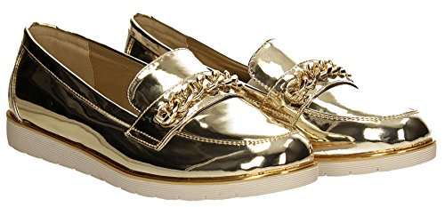 Damen Schuhe Gold Gold Mia Brogues Trainer Slipper SWANKYSWANS Slip Silber Metallic Womens Faux on IqwHw6xFR