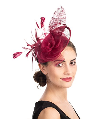 SAFERIN Fascinators Hat Flower Mesh Feathers on a Headband and a Clip Tea Party Headwear for Girls and Women (Ta4-sinamay Feather Burgundy)