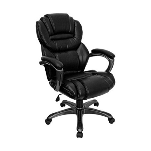 Executive Leather Office Chair with Padded Loop Arms Flash Furniture