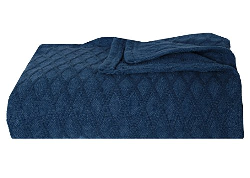 Eddie Bauer Lattice Cotton Blanket, Dusted Indigo, Twin (Twin Bed Quilt Blue compare prices)