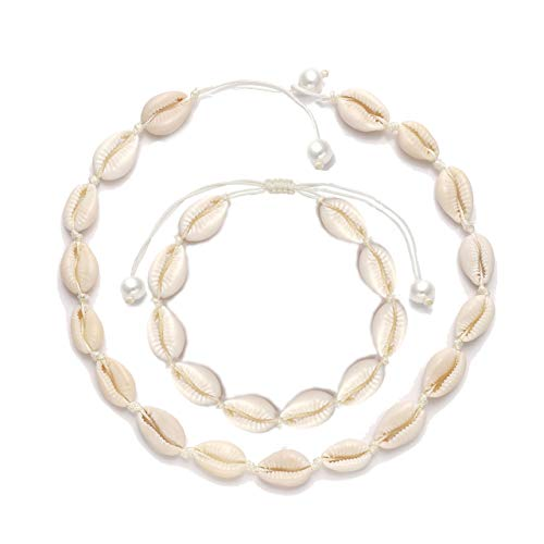 (TIKCOOL Pearls Shell Choker Necklace for Women Seashell Anklets Bracelets Set Cord Hemp Cowrie Shell Necklace Summer Beach Jewelry (Shell Anklets&Necklace)