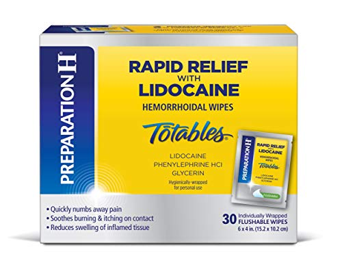 PREPARATION H Rapid Relief with Lidocaine Hemorrhoid Symptom Treatment Flushable Wipes, Numbing Relief for Pain, Burning & Itching, Reduces Swelling, 30 Count Box (Best Way To Get Rid Of External Hemorrhoids)