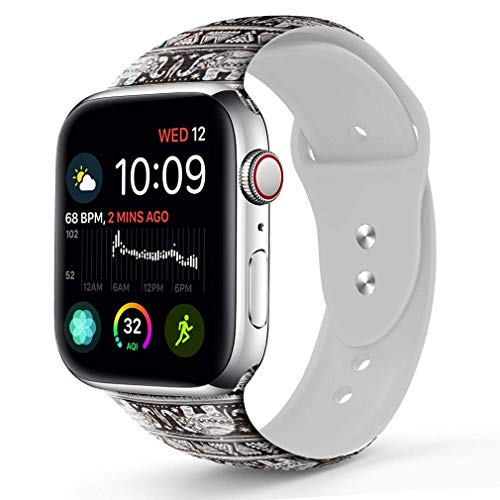 Compatible with A pple Watch Band 42mm 44mm, OOCASE Floraler Soft Silicone iWatch Strap Replacement Sport Band for Apple Watch Band 42mm Series 4/3/2/1 Sport & Edition Elephant Totem