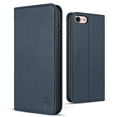 SHIELDON iPhone 7 Case, iPhone 8 Wallet Case, Genuine Leather iPhone 7 Flip Case Credit Card Slots Magnetic Cover Kickstand TPU Interior Case Compatible with iPhone 7 iPhone 8 (4.7 inch) - Blue