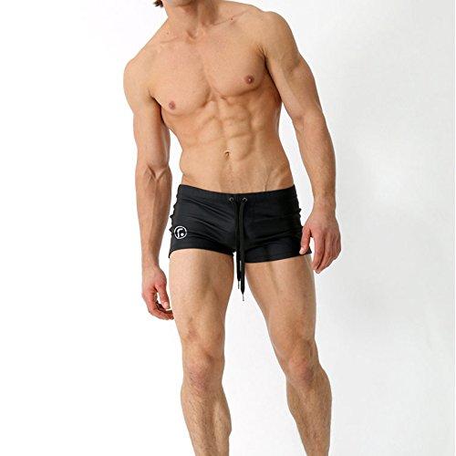 ZQ@QXBoxer imprimé élégant hommes grande taille maillot de bain ,XXL,Black