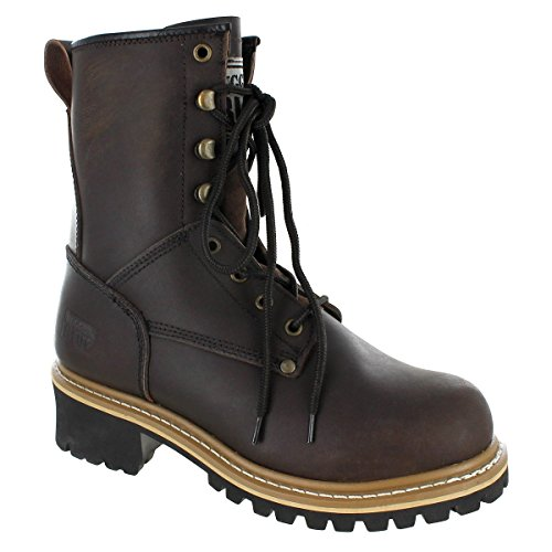 Rugged Blue MS002-BRN-ST-12W-UNLN Pioneer II Steel Toe Logger Boot - 12W - Unlined, English, Capacity, Volume, Leather, 12W, Black () ()