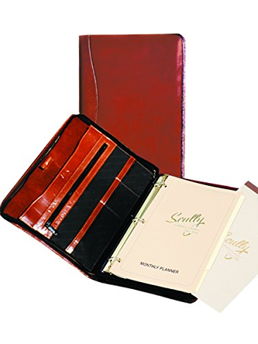 Scully Italian Calfskin Leather 3 Ring Zip Binder Organizer with Pen (Cognac) by Scully