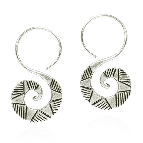 - Graphic Curl Thai Yao Hill Tribe Fine Silver Dangle Earrings
