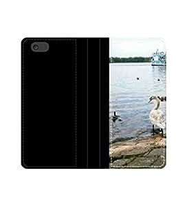 Caja de la carpeta de cuero protector ausflugsdampfer con cisne con ranuras para tarjetas y bolsillo para billetes iPhone 4 4S 5 5S 6 6S/Samsung S3 S4 S5