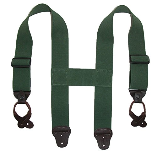 - CTM Men's Elastic 2 Inch Wide Button-End Wader Suspenders, Olive Green