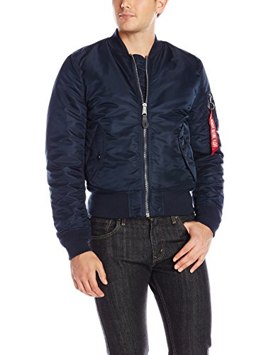 Alpha Industries Men's MA-1 Slim Fit Flight Bomber Jacket, Replica Blue, Large (Reversible Ma Jacket 1 Flight)