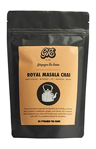 Traditional Chai Tea Bags - 20 Pyramid TeaBags - Assam Indian Black Tea Blended with Organic Cinnamon, Cardamom, Ginger and Cloves - Directly Shipped from our Family-Owned Estate in India