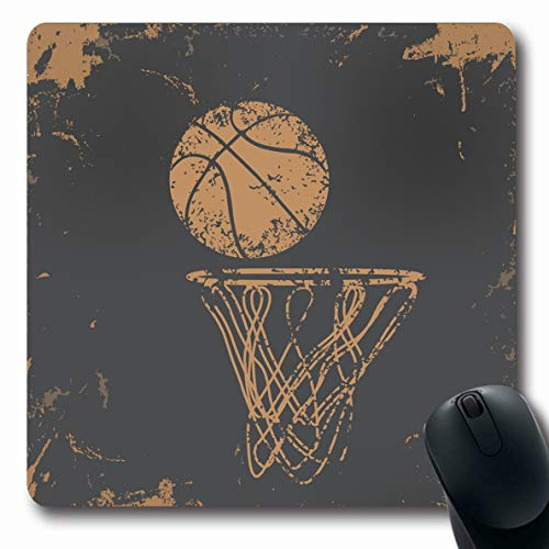 Ahawoso Mousepad Oblong 7.9x9.8 Inches Old Brown Hoop Basketball On Abstract Sports One Recreation Orange Pattern Vintage Gear Net Jersey Office Computer Laptop Notebook Mouse Pad,Non-Slip Rubber