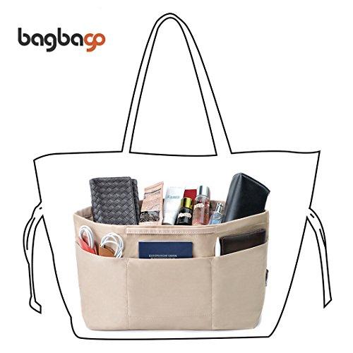 BES CHAN Bag In Bag Handbag Purse Shopper Organizer With Handle Fit Neverful M(Khaki) (Vuitton Louis Keychain Men)