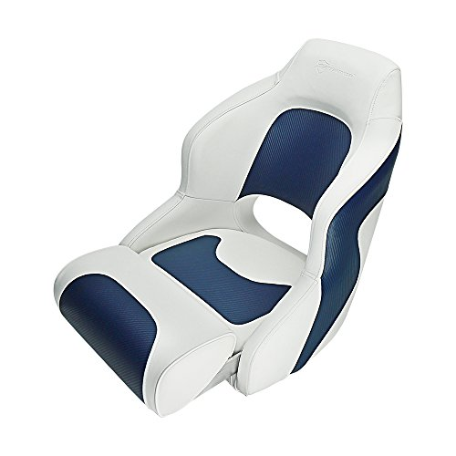 Seamander S1043 Series Premium Bucket Seat,Sport Flip Up Seat, Captain Seat, Colors White/Charcoal, White/Navy