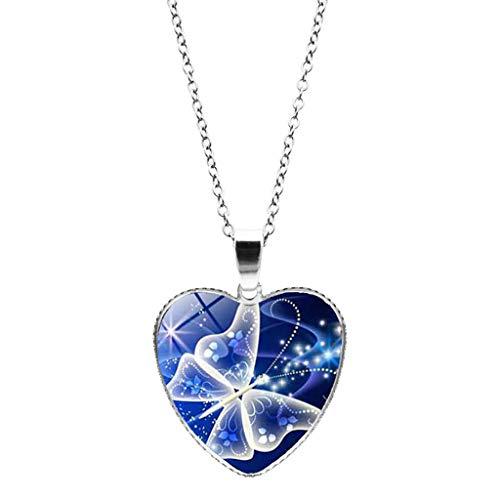 Clacce Süße Halskette 45cm - Herzförmiger Anhänger Schmetterlingsdruck, süße Schmetterlingskette, Acrylfarbe Schlüsselbeinkette Halskette (1 Stück, Schmetterling blau)