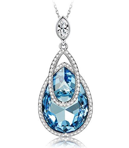 Sllaiss Swarovski Necklace For Women Blue Crystal Teardrop Pendant Jewelry Gift For Wife Girlfriend Mom