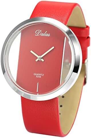 Dalas Red Leather Transparent Dial Fashion Lady Girl Wrist Quartz Watch Gift WAA026