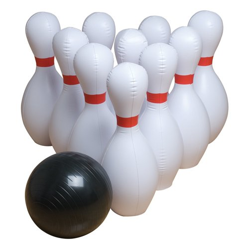 Gamecraft Jumbo Inflatable Bowling Set, Multicolor, Medium, Set of 10 pins + 1 Ball - Nylon Giant Inflatable