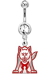 South Dakota Coyotes Belly Navel Ring in Color Logo, Stainless Steel and Sterling Silver