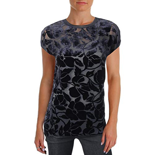 Theory Womens Petites Velvet Floral Print Pullover Top Navy M