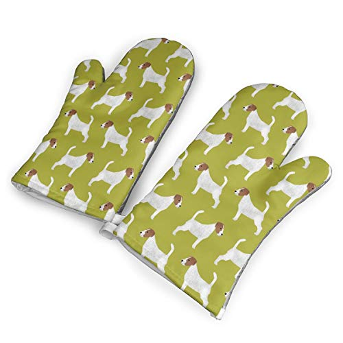 HDGASUG Oven Mitts 1 Pair, Jack Russell Terrier Mini Mitts Heat Resistant for Handling Hot Kitchen/Bakeware Items