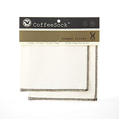 CoffeeSock Chemex 6 Cup Style - GOTS Certified Organic Cotton Reusable Coffee Filters
